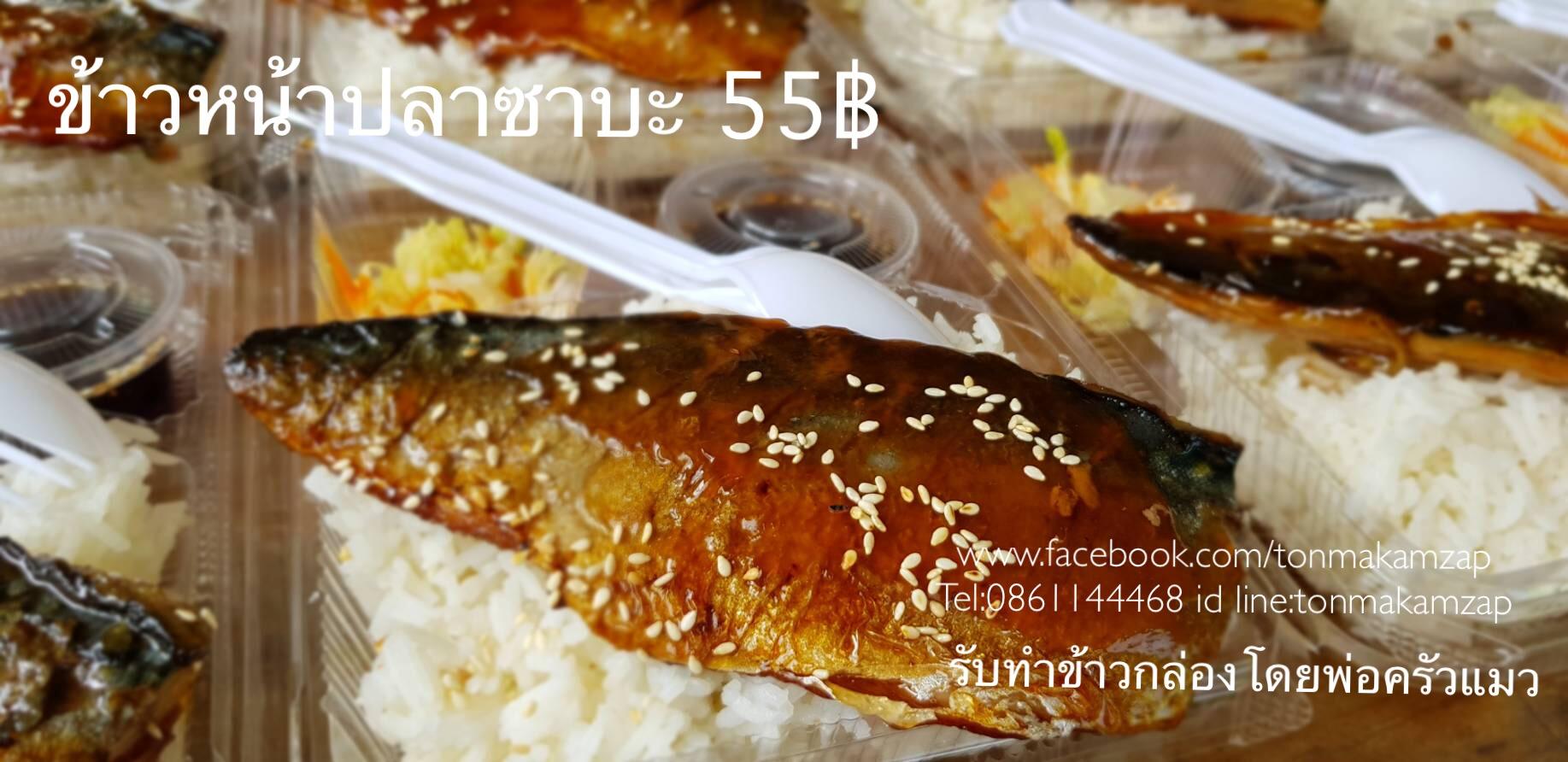 ข้าวกล่องอร่อยๆส่งฟรีสมุทรปราการ ข้าวหน้าปลาซาบะอร่อยๆ