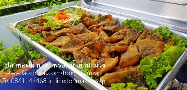ปลาทอดน้ำปลา พร้อมน้ำยำมะม่วง บุฟเฟ่ต์นอกสถานที่อร่อยๆโดยพ่อครัวแมว