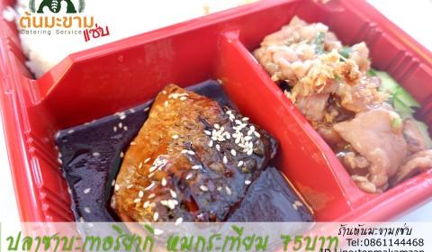 ข้าวหน้าปลาซาบะเทอริยากิกับหมูกระเทียมข้าวกล่องอร่อยๆบางพลีสมุทรปราการ