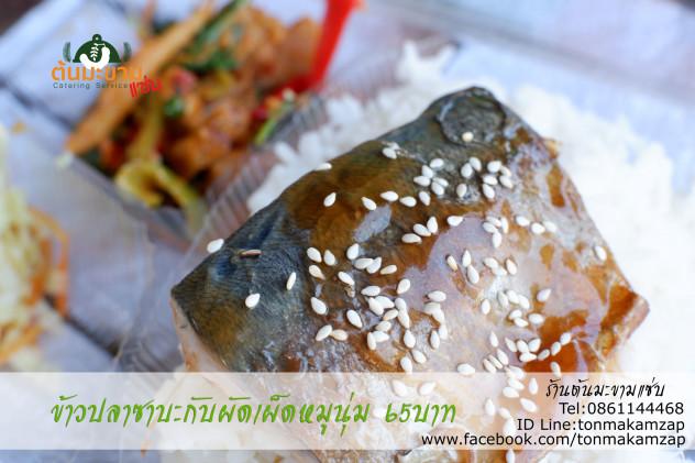 ข้าวหน้าปลาซาบะเทอริยากิกับผัดเผ็ดหมูนุ่ม